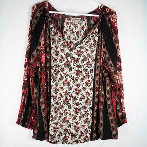 Lucky Brand Boho Floral Long Sleeve Top V Neck